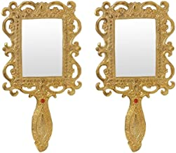 Hand Mirror Pair in Metal Gold Finish by Handicrafts Paradise
