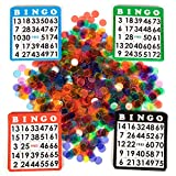 Bingo Hall Bundle - 100 Pack of Playing Cards & 1,000 Mixed Game Chips - Bulk Set of Multi-Color Card Boards & Translucent Tokens - Gaming Supplies for Rec Rooms, Parties, Raffles, & Family Fun