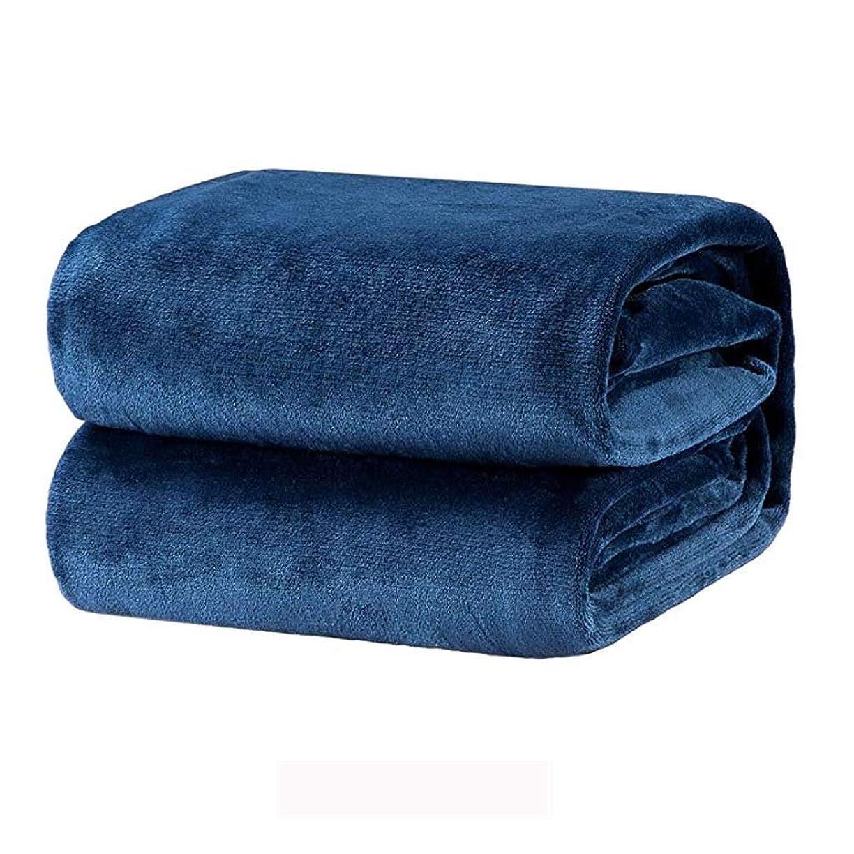 復活させる平和的音声学Bedsureフランネルの高級毛布ネイビーツインサイズ軽量居心地の良い豪華なマイクロファイバー固体毛布 (色 : 青, サイズ さいず : 230cmx250cm)