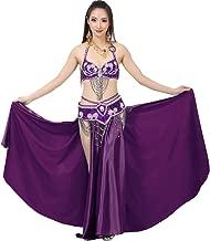 Calcifer Belly Dance Costume Set for Adult Woman Girls Dance Show—Bra,Belt,Double Split Satin Skirt