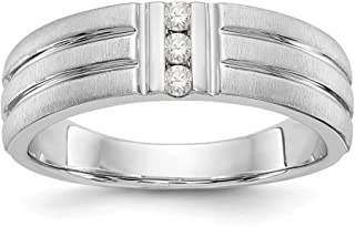 14k White Gold Diamond Mens Wedding Ring Band Size 10.00 Man Bridal Fine Jewelry For Dad Mens Gifts For Him