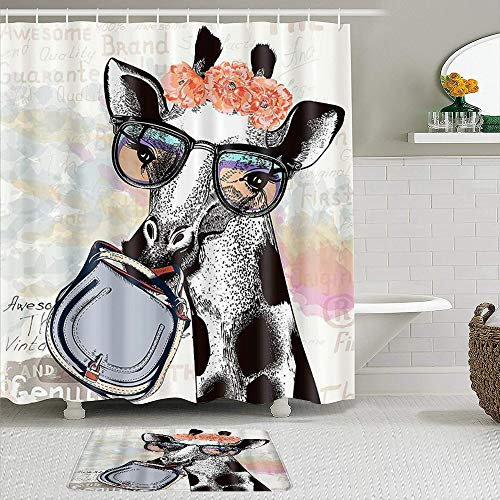 Stoff Duschvorhang & Matten Set,Tiergiraffe mit Girlande Nettes animiertes Aquarell,Wasserabweisende Badvorhänge mit 12 Haken,rutschfeste Teppiche