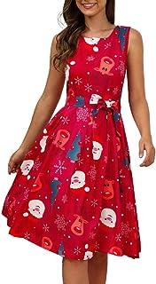 فساتين JKoYu للنساء، عيد الميلاد سيدة ندفة الثلج سانتا كلوز طباعة على شكل حرف O بدون أكمام فستان متوسط الطول