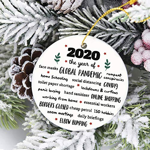 2020 Christmas Ornaments Family Quotes Christmas Tree Ornaments Ceramic Gifts Crafts Window Door Kitchen Dress up Hanging