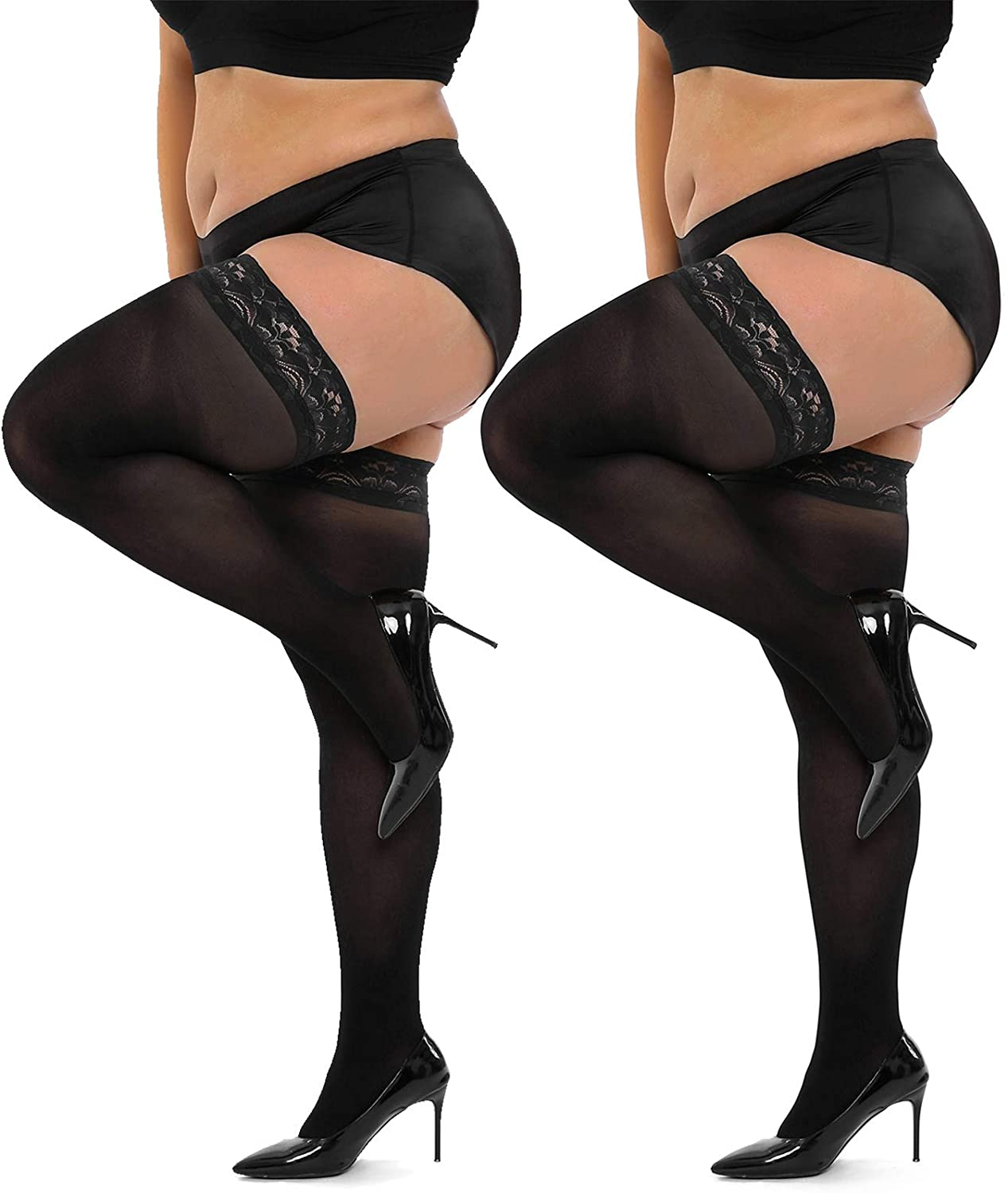 HONENNA Semi Sheer Stay Up Lingerie Plus Size Thigh High Stockings Lace Top Pantyhose for Women