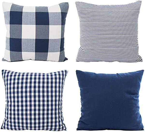 Hoplee Navy Blue Pillow Cover Cushion Cover With Buffalo Plaid Solid Navy Blue Striped And Gingham Plaid Design 18x18 Inch 4 Pack