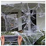PUTOWUT Telas de araña elástica para Halloween para interiores y exteriores, con arañas falsas para decoraciones de Halloween