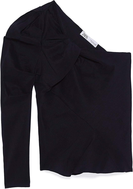 Zara 2224/892 - Camiseta asimétrica para Mujer Negro M ...