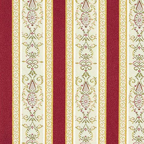 Fabulous Fabrics Möbelstoff Jacquard Biedermeier Streifen – Creme/rot — Meterware ab 0,5m —...