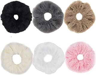 SUSULU Faux Ru Furry Scrunchies Fur Hair Bands Wristband Hair Rings Ponytail Holder Hair Accessories (Mixed Colors)