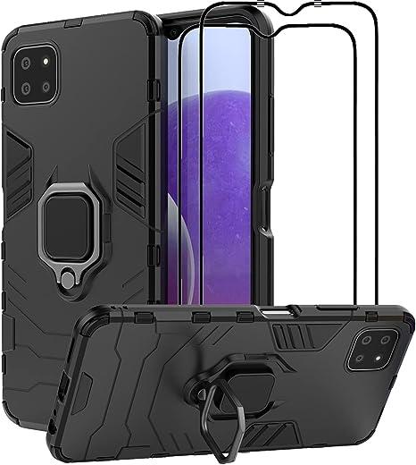 جراب EasyLifeGo لهاتف Samsung Galaxy A22 5G Kickstand مع واقي شاشة من الزجاج المقسى [قطعتان]، جراب هجين شديد التحمل بطبقة مزدوجة مضادة للخدش، أسود