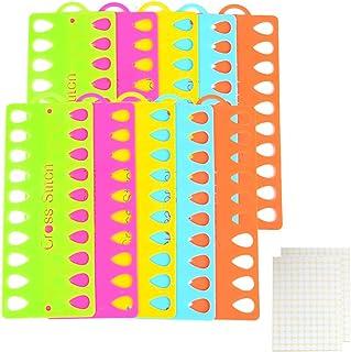 Sticktwist Organizer, 10 Stück Kunststoff Kreuzstich Fadenhalter Aufbewahrung Werkzeug  2 Blatt Etiketten Etiketten, Stickkarten, Bastelwerkzeug, zufällige Farbe Tropfenform