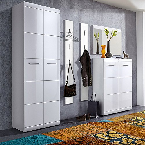 Lomado Komplett Garderoben Set, 5-teilige Flurgarderobe Flurmöbel in Hochglanz weiß, Schuhschrank, Spiegel, 2 Wandpaneele
