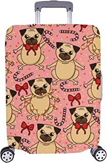 Sweety Pattern Cute Pug Lollipops Bows Pattern Spandex Trolley Case Travel Luggage Protector Suitcase Cover 28.5 X 20.5 Inch