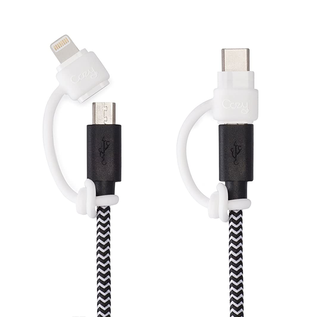 Charging Cable Cozy by Cozy: Adapter Keeper/Holder/Lanyard Accessories, Compatible with (USB-C, Micro USB, Apple Pencil) adapters | Perfect for Keychain, Cable, Phone, Car, Travel, Uber (White)