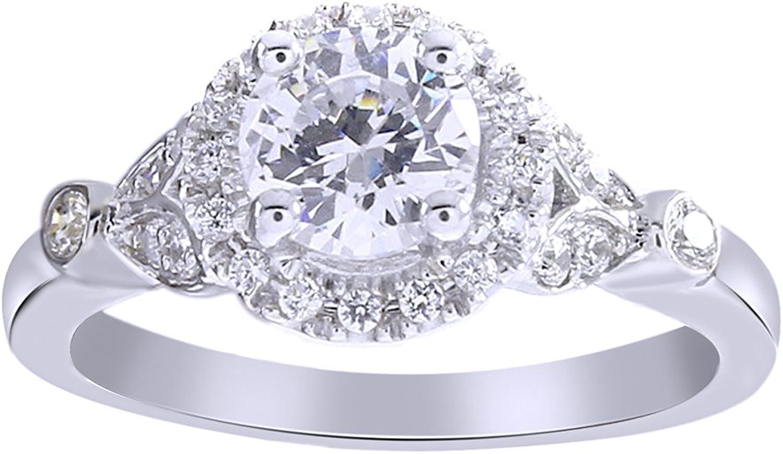 AFFY weien Zirkonia Verlobung und Hochzeit Fashion-Ring in 18ct verGoldet, Sterling-Silber (1,99cttw)