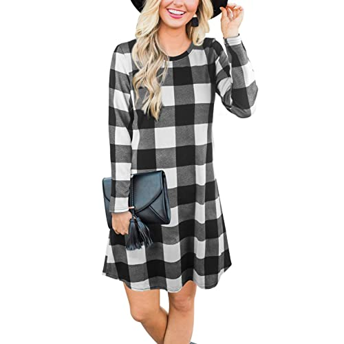 78165393e7 Blooming Jelly Women's Plaid Swing Dress Long Sleeve Round Neck Tunic Mini  Dress