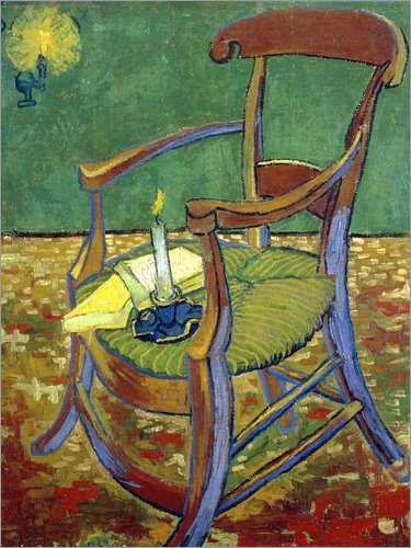 Posterlounge Leinwandbild 50 x 70 cm: Gauguins Stuhl von Vincent Van Gogh - fertiges Wandbild, Bild auf Keilrahmen, Fertigbild auf echter Leinwand, Leinwanddruck