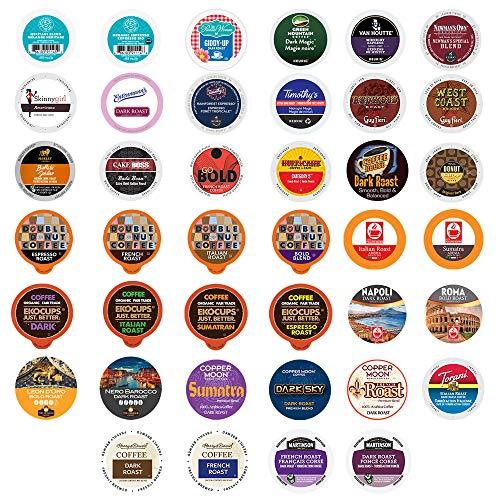 Crazy Cups Coffee Pod Variety Pack, Single Serve Cups, Original Version, Bold & Dark Roast, 40 Count