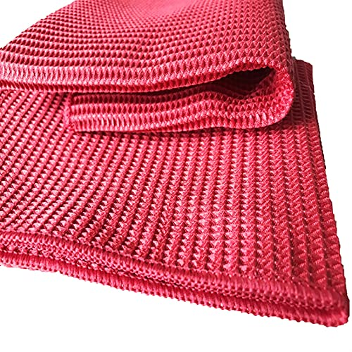 WERWER 2pcs Polishing Cleaning Cloth Soft Microfiber Cleaning Towel Absorbable Glass Kitchen (Color : Bright red, Specification : 2pcs)