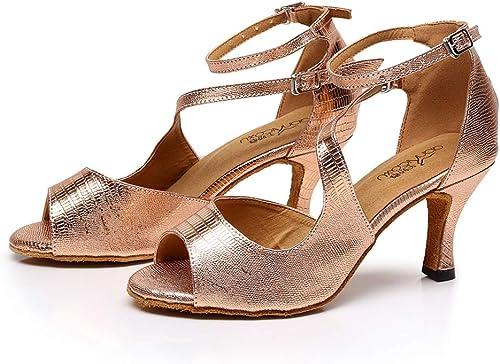 XIAOY Paillettes Latin Lanière de Cheville Boucle Pour Femmes Chaussures Danse Poisson Bouche Mi Talon Pompes