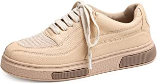 Winter Women's Sneakers Fashion Casual Lace-up Flat Shoes Students Sweet Low Top Shoes (Color : Apricot, Size : 38)