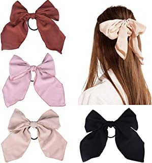 4Pcs Hair Scrunchies Bowknot Chiffon Hair Scarf Elastics Ties Ponytail Holder Scrunchy Hair Rope Vintage Accessories for W...