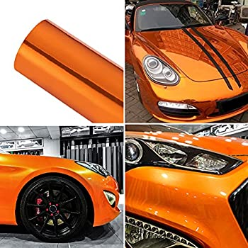 ATMOMO Chrome Mirror Orange Car Vinyl Wrap High Gloss Self-Adhesive DIY Car Decals Film Sheet 59.8   x 7.8