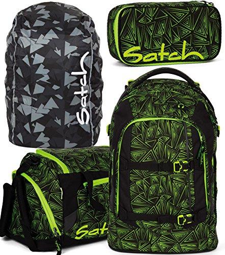 Satch Pack Green Bermuda 4er Set Schulrucksack, Sporttasche, Schlamperbox & Regencape Schwarz