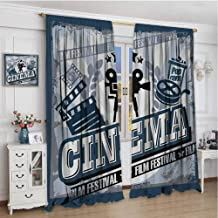 zojihouse Movie Theater Vintage Cinema Poster Design with Grunge Effect and Old Fashioned Icons Room Darkening Curtains Blue Black Grey Blackout Curtains for Bedroom W72XL72