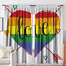 NUOMANAN Rod Pocket Drapes and Curtain Pride,Hand Drawn Rainbow Heart with Arrows and Doodles Love Valentines Word Special Day,Multicolor,Customized Curtains 84