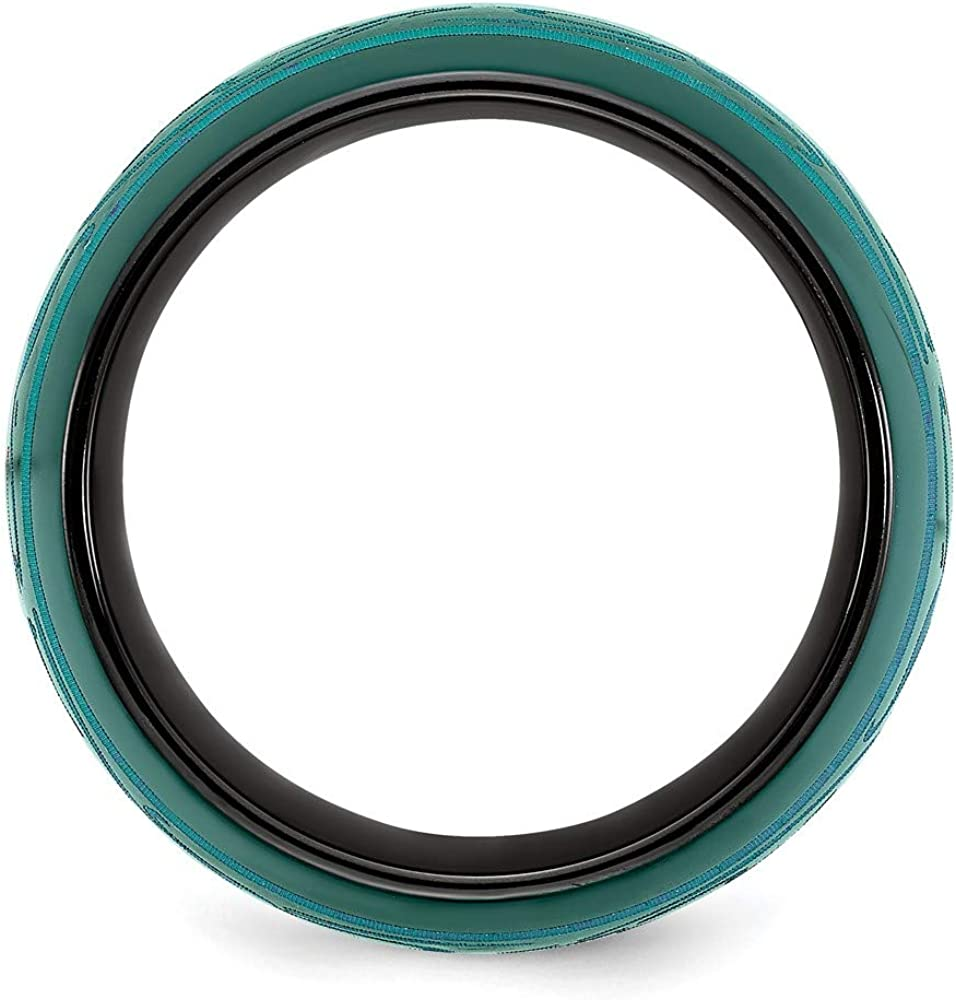 ICE CARATS Edward Mirell Black Titanium Anodized Teal Domed Wedding Ring Band Classic Fancy Designed Fashion Jewelry for Women Gifts for Her
