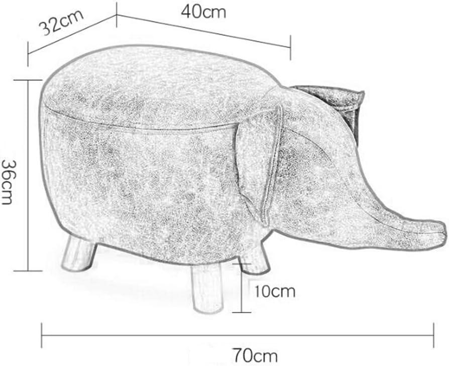 ZH Tabouret, Petit Siège, Créativité de la mode Bande éléphant Cartoon Bench Home Tabouret en bois massif Tabouret Canapé (Color : White elephant) White Elephant