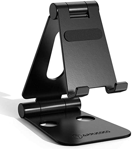 APPUCOCO Aluminium Adjustable Foldable Mobile Phone Stand Holder Dock Mount For Mobile Cell Phones Smartphones Tablets Black
