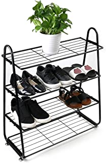 C-Easy Shoes Rack Plant Shelf - 4-Tier Stainless Organizer Storage Shelf Wrought Iron Shoe Rack, Suitable for Shoes, Books, Plants, Toys Etc, Easy to Assemble, 24.8x27.96x9.84inch