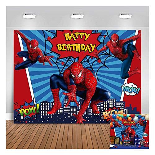 Superhero City Theme Photography Backdrops Red Blue Stripe Spiderman Children Boys Happy Birthday Party Photo Background 5x3ft Newborn Baby Shower Banner Supplies Cake Dessert Table Decor Props Vinyl