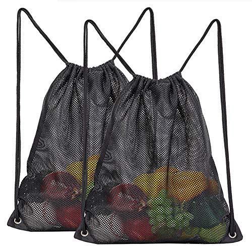 2-Pack Mesh Drawstring Bag, Sport Equipment Storage Bag for Beach, Swimming