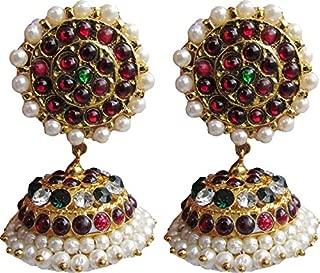 India4you Imination Gold Polished Brass with Kemp & Pearls Bharatanatyam Dance Temple Jewelry Earring Jumka Jimikki Set