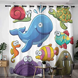 Onefzc Home Curtains,Whale Decor Collection Group of Underwater Animals Sea Otter Slug Snail Summer Day Art Design,Blackout Window Curtain 2 Panel,W108x108L,Blue Purple Green