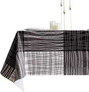 Lavin Vinyl Tablecloth Rectangle, Plastic Table Cover with Backing, PVC Wipe Clean, Waterproof Oilcloth Stain Resistant, Home Decoration (Stripe, 55x108 inch, 140x275cm)