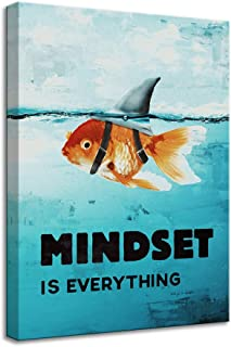 Mindset is Everything Canvas Wall Art Poster Goldfish Picture Big Shark Painting Inspirational Entrepreneur Quotes Print Artwork Living Room Bedroom Office Framed to Hang (24