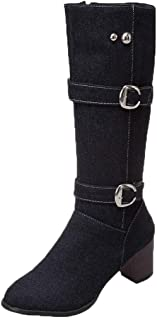 Funnygals - Demin Knee High Boots for Women Double Buckle Straps Block Heels Shoes Low Heel Riding Boots High Boots