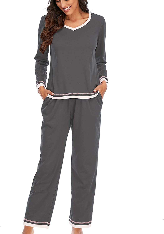 Pajamas Women's Long Sleeve Pajama Set Splicing 2 Piece Tops with Sleep Pants Loungewear Sleepwear Gifts for Women