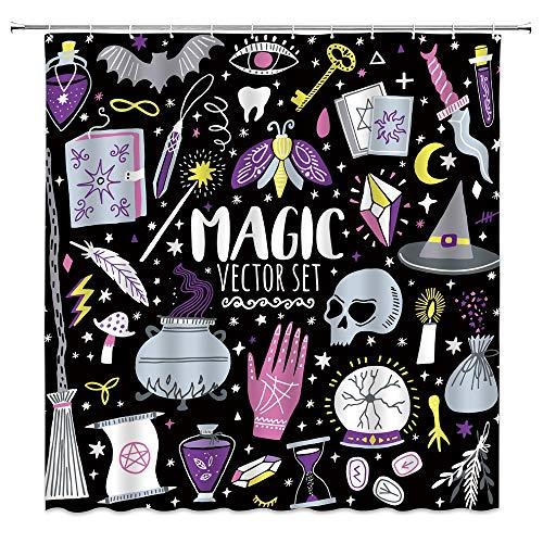 AMHNF Halloween Hexe Duschvorhang Gruselige Alchemy Magie Vektor Set Hexe Hexe Bohemian Zeichnung Cartoon Lustig Home Badezimmer Dekor Stoffvorhang mit 12 Haken, 178 x 178 cm, lila, weiß, schwarz