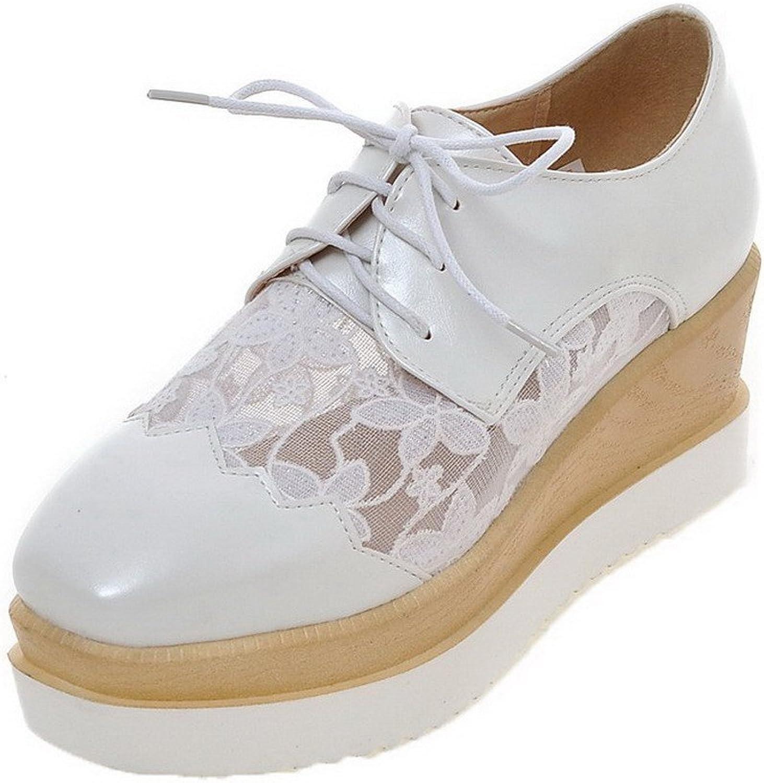 AmoonyFashion Women's PU Solid Lace-up Pumps-shoes
