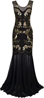 1920s Long Prom Dresses Sequins Beaded Art Deco Evening Party V Neck Back