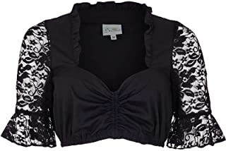 Trachten Stoiber Damen Dirndl Bluse mit Spitzen-Ärmeln schwarz, Schwarz, 32