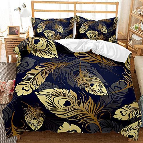 Aolomp 2/3 pièces Ensemble de literie Impression 3D Plumes dorées abstraites Housse de Couette Ensemble de taie d'oreiller Textile à la Maison pour Les Adolescents 220 cm * 240 cm