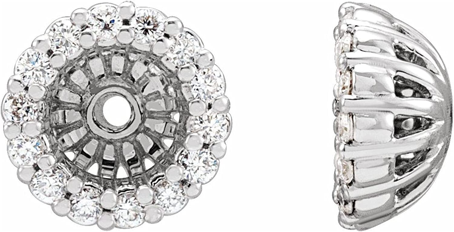 14K White Gold 1/8 CTW Diamond Jackets Earring with 4.1 mm ID for Women