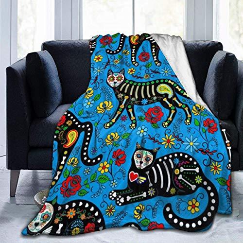Manta de microfibra de franela, diseño de gatos, con flores, coloridas, cálida, mullida, ligera, para cama, sofá, sala de estar, niños, 152 x 127 cm